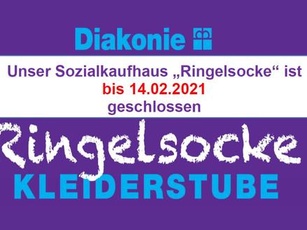 """Unser Sozialkaufhaus """"Ringelsocke"""" ist bis 14.02.2021geschlossen"""