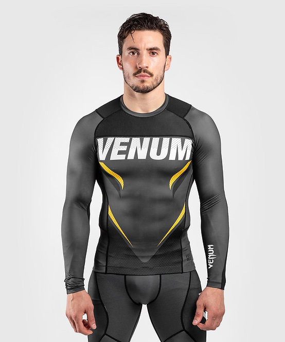 Venum ONE FC Impact Rashguard Long Sleeve - Grey/Yellow