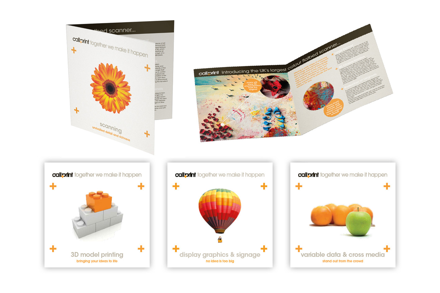 Corporate service leaflets  concept and redesign for Callprint