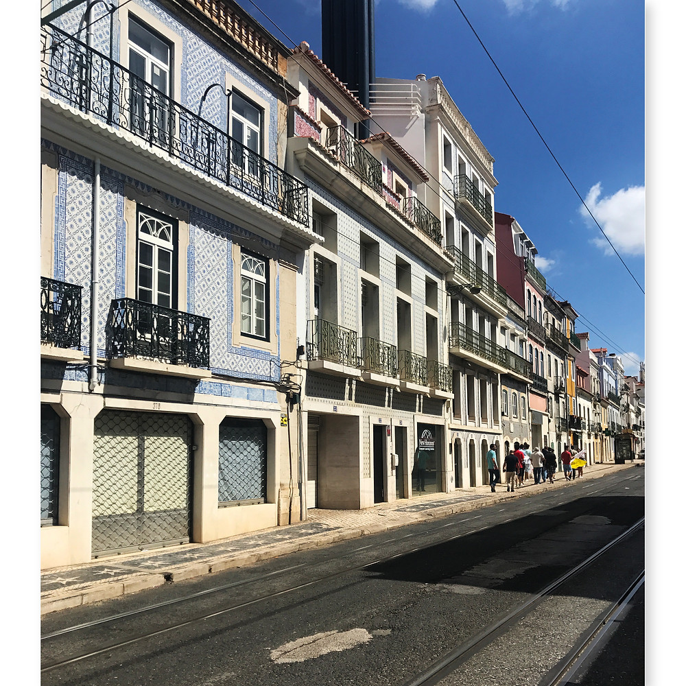 Lisbon old town street with tramlines