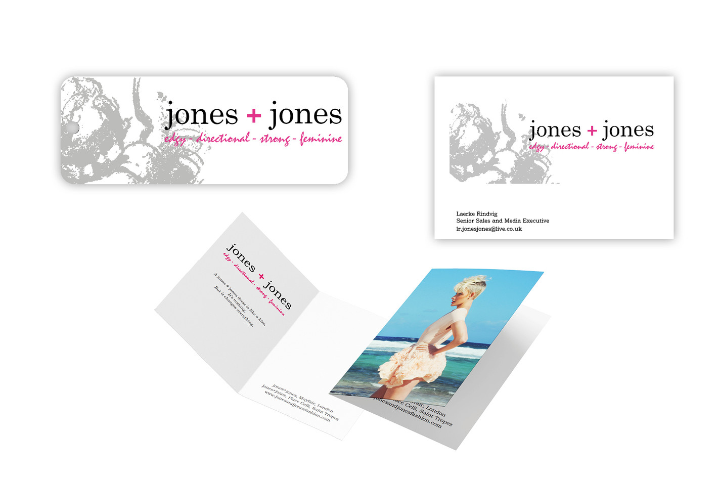 Swing tags and business cards for Jones+Jones