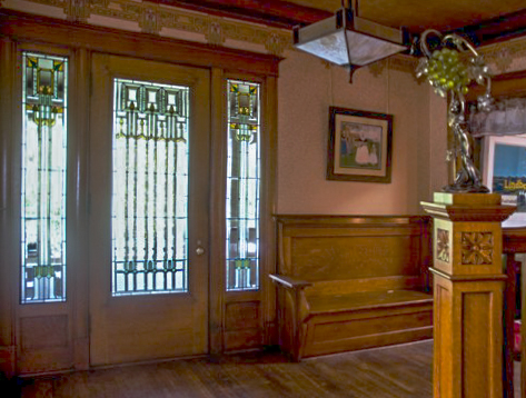 Prairie entry hall glass