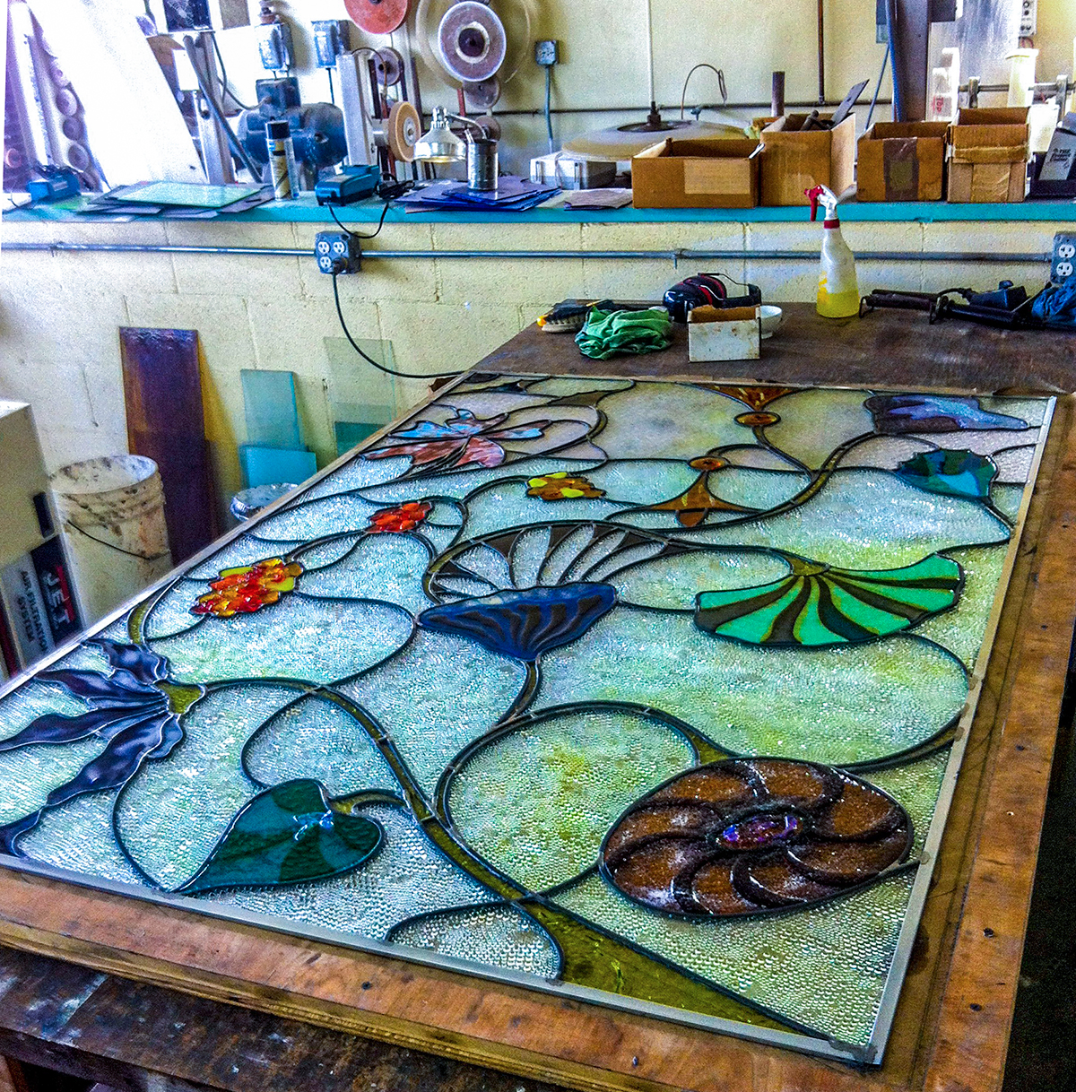 leaded glass in progress