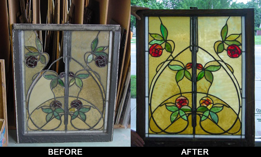 Before/after glass restoration