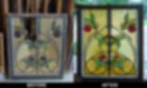 Bent glass, Bent glass lamp panel, Bent glass china cabinet, Hand beveled glass, Stained glass repair Chicago Illinois, Stained Glass restoration Chicago Illinois