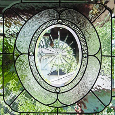 Wheel engraved leaded window