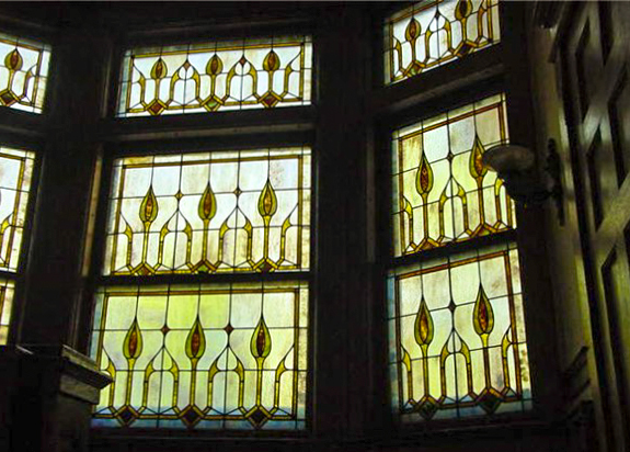 Double hung leaded glass windows