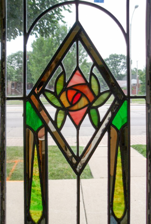 Leaded window stylized rose
