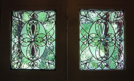 Beveled glass front doors