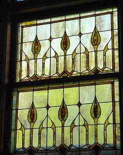 Double hung leaded window