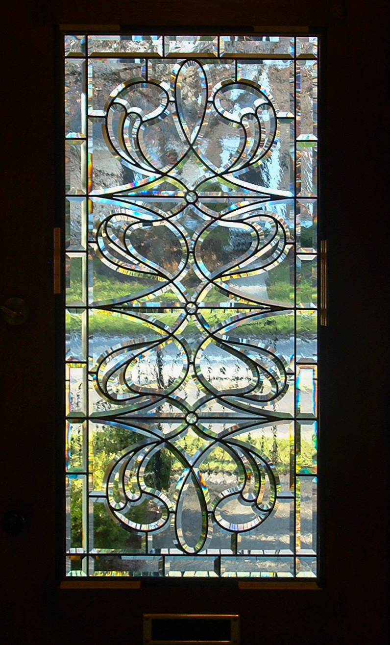 Hand-beveled glass window