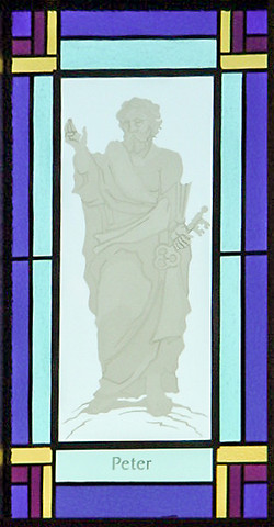 Sand etched leaded glass