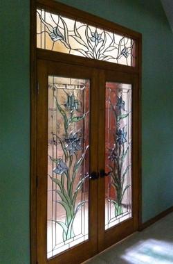 Leaded glass front doors