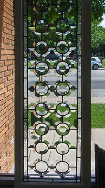 Beveled glass panel