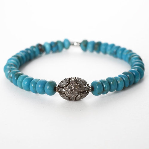 diamonds, oxidized silver & turquoise