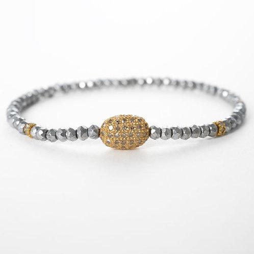18k, pyrite, diamonds oxidized silver