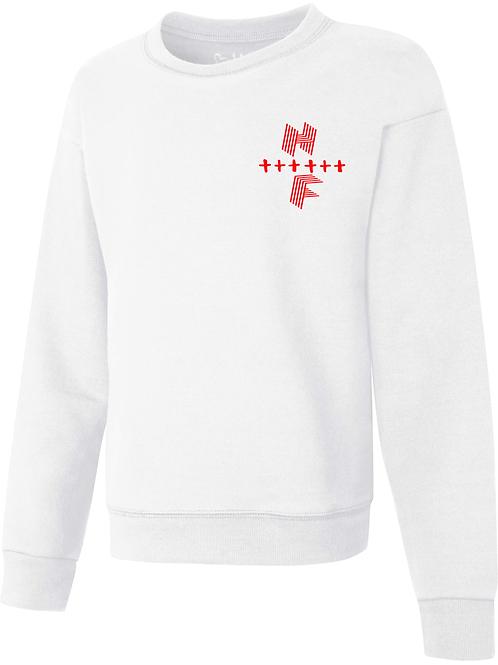 Unisex HF Cross Sweatshirt White & Red