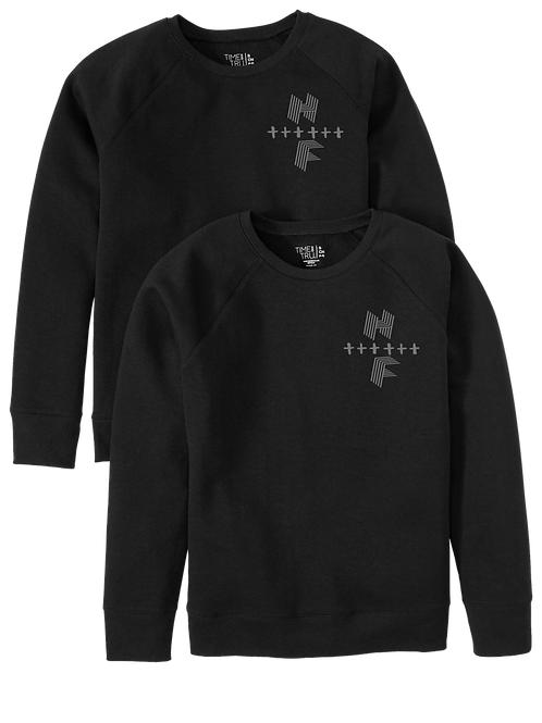 Unisex HF Cross Sweatshirt Black w/ Gray Logo