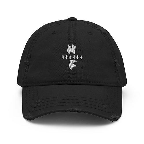 HighlyFVRD Cross Distressed Dad Hat (White Logo)