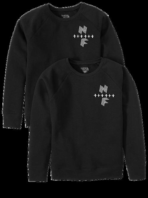 Unisex HF Cross Sweatshirt Black w/ White Logo
