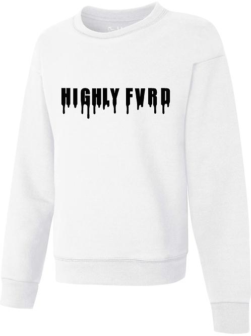 Ladies HF Drip Sweatshirt White w/ Black Logo