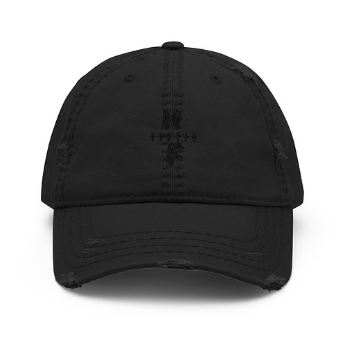 HighlyFVRD Cross Distressed Dad Hat (Black Logo)