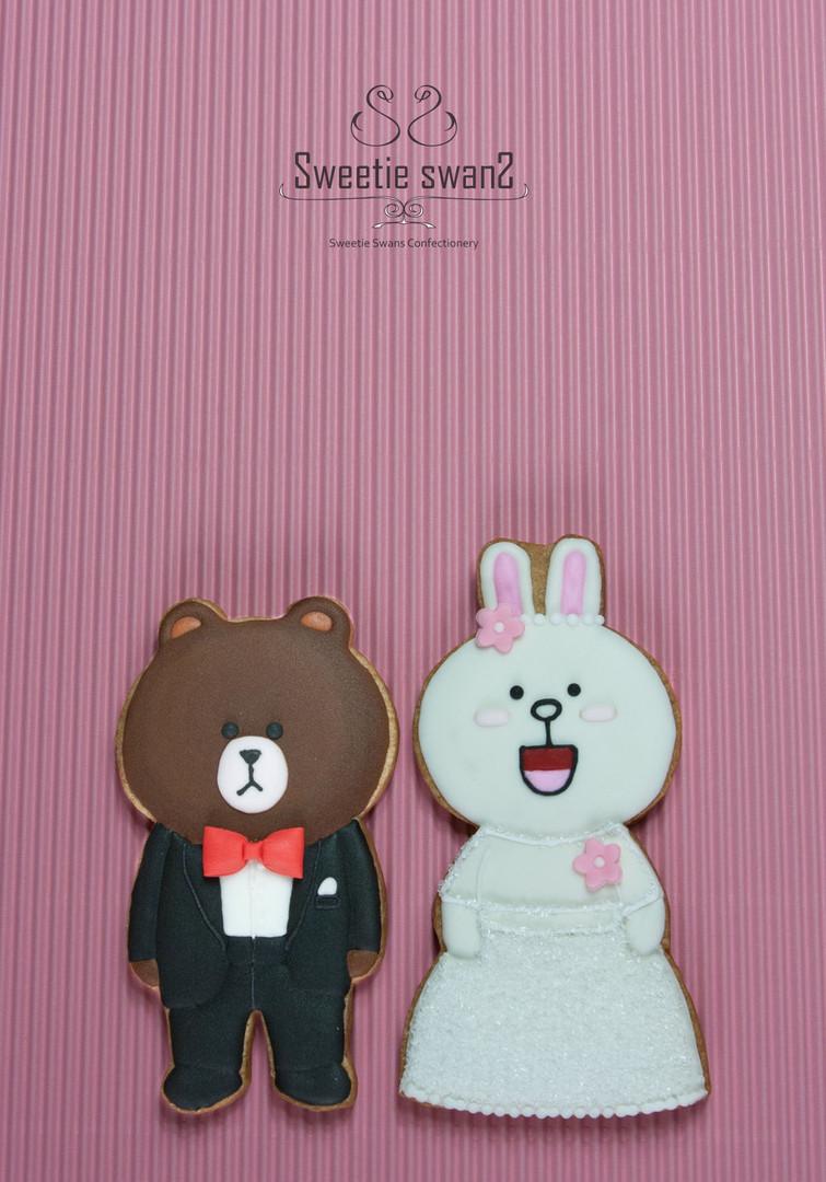 Line Wedding Cookie Pair