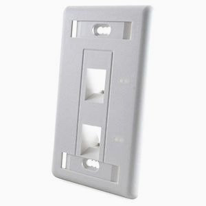 Faceplate Angulado 2 ports- color Blanco/ Almendra