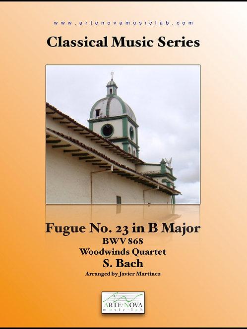Fugue No. 23 in B Major BWV 868 for Woodwinds Quartet