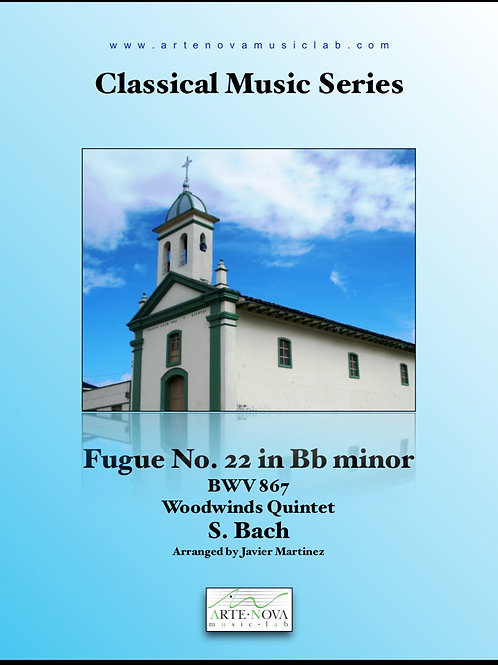 Fugue No. 22 in Bb minor  BWV 867 for Woodwinds Quintet.