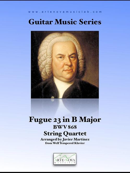 Fugue No. 23 in B Major BWV 868 for String Quartet