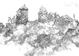Watercolour of Sayn Castle by Filippa