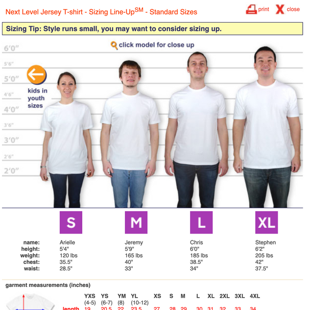 T-Shirt Sizing Guide