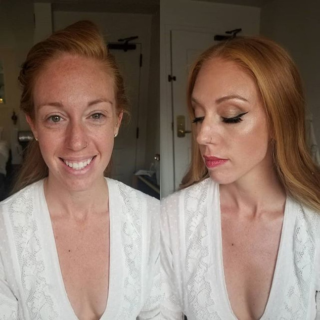 Before and After on gorgeous bride Liana