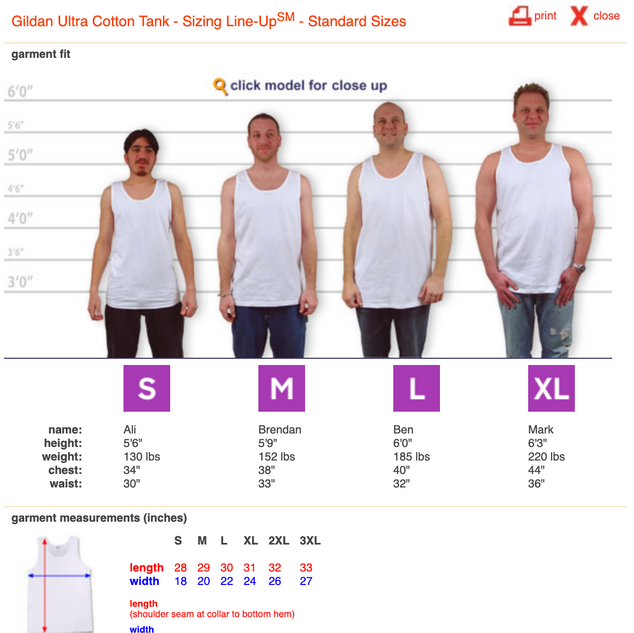 Tank Top Sizing Guide