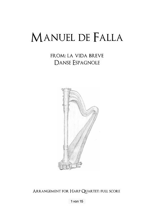 PDF Noten Manuel de Falla - Danse espagnole für Harfenquartett