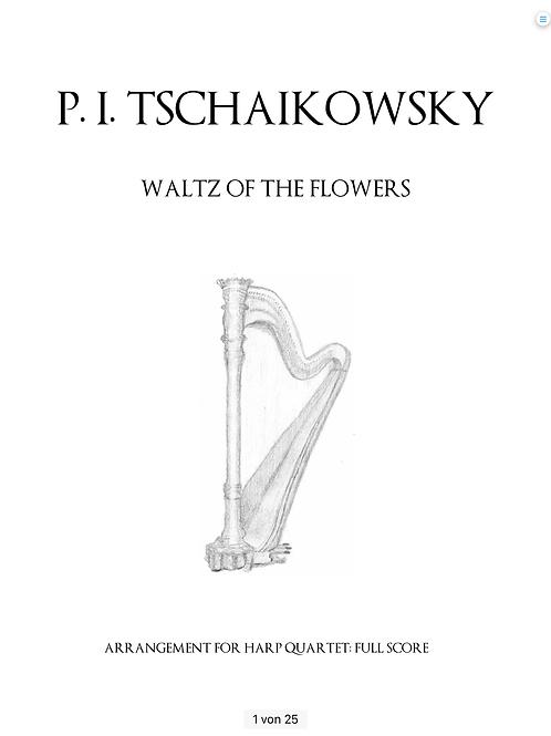 PDF Noten Tschaikowsky - Blumenwalzer für 4 Harfen