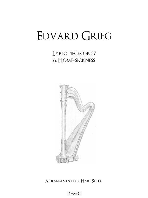 PDF Noten Edvard Grieg - Heimweh für Harfe solo