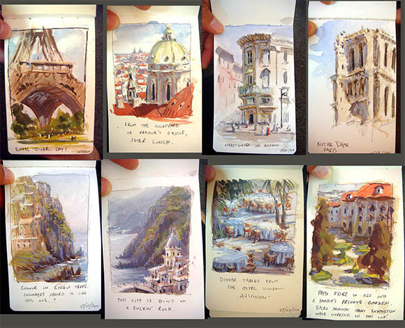 Europe Studies. Gouache/Watercolour