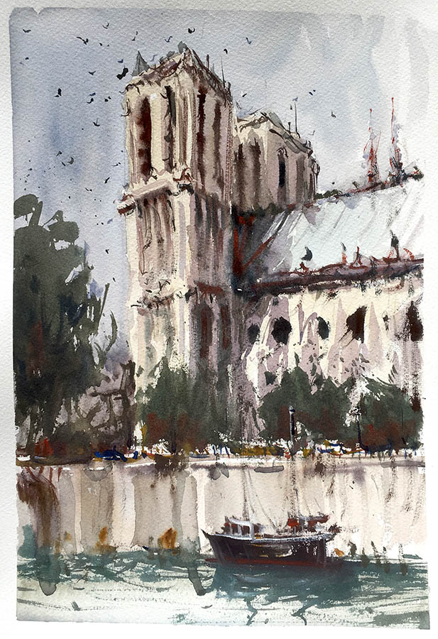 Notre Dame, Paris. Watercolour.