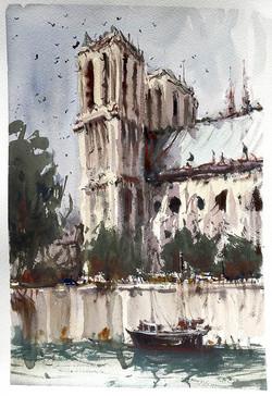Notre Dame, Paris. Watercolour.