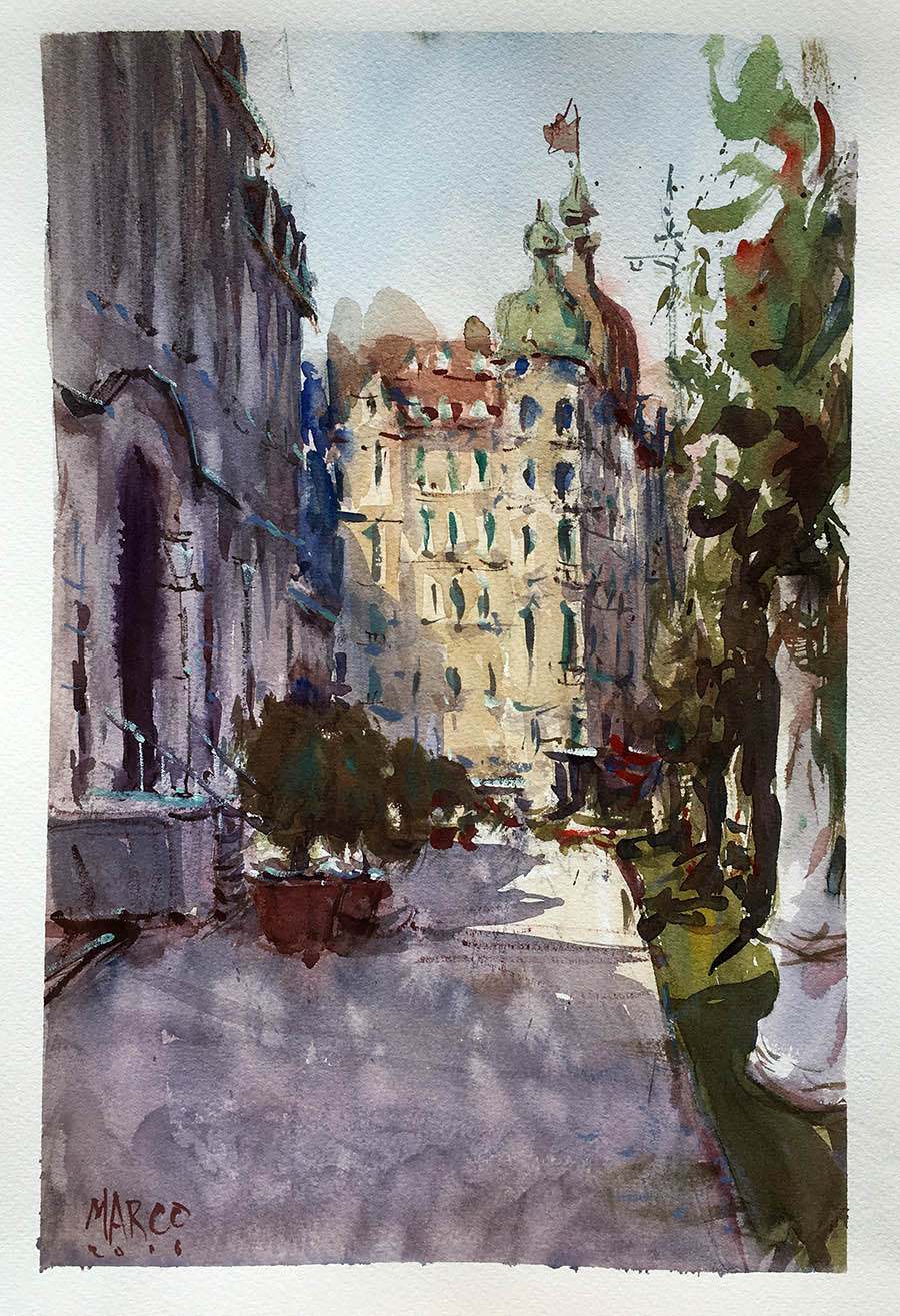 Lucerne Walk. Watercolour.