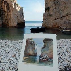 Croatia Beach - Watercolour