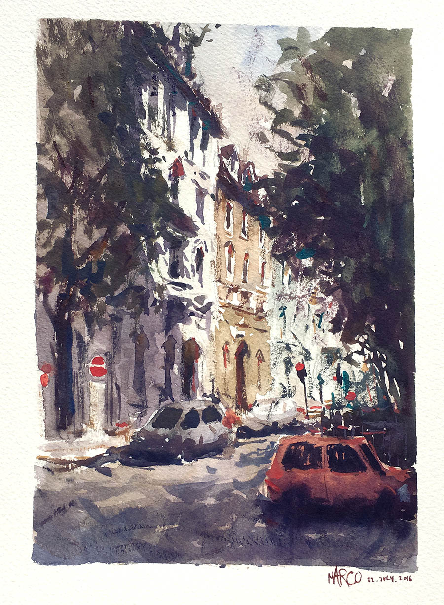 Munich Stroll. Watercolour.