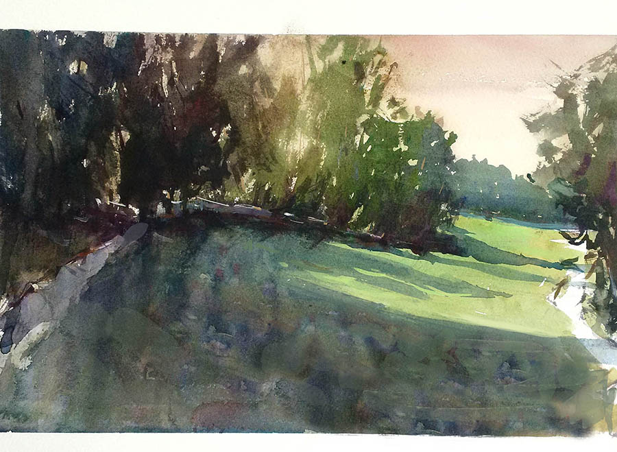 Park Sunset. Watercolour.