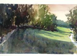 Park Sunset. Watercolour.