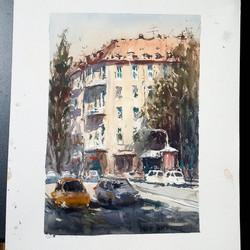 Leopoldstrasse, Munich. Watercolour.