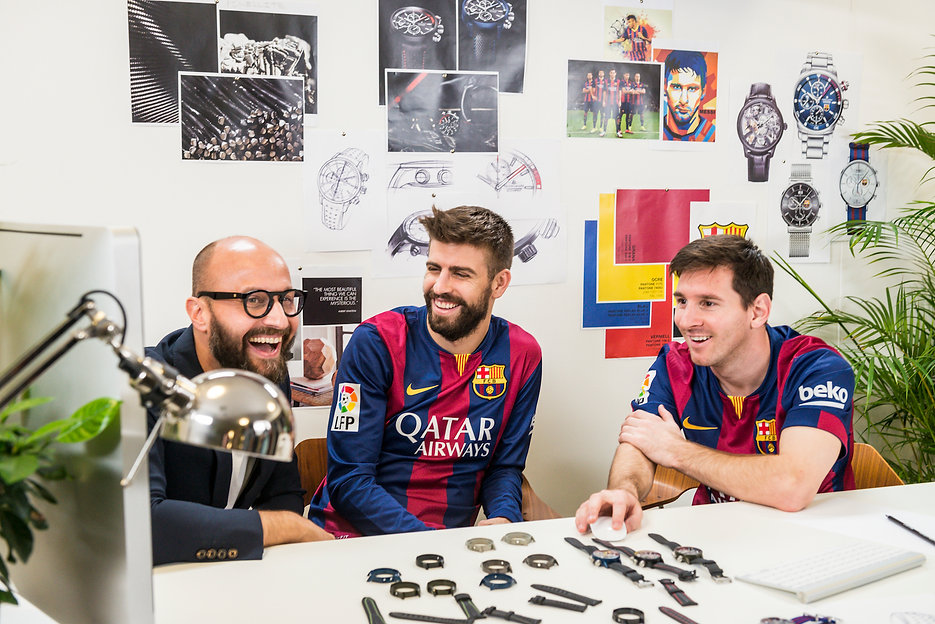 Leo Mess and Piqué designing their own watches. Set desing and production Barcelona.