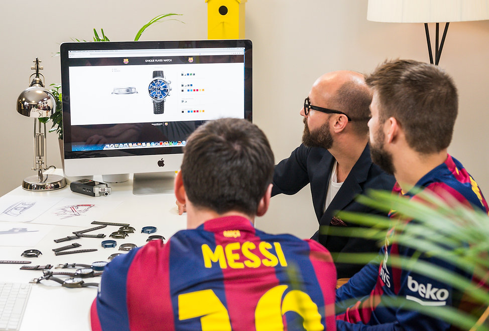 Leo Messi and Piqué designing their own watches. Set desing and production in Barcelona.