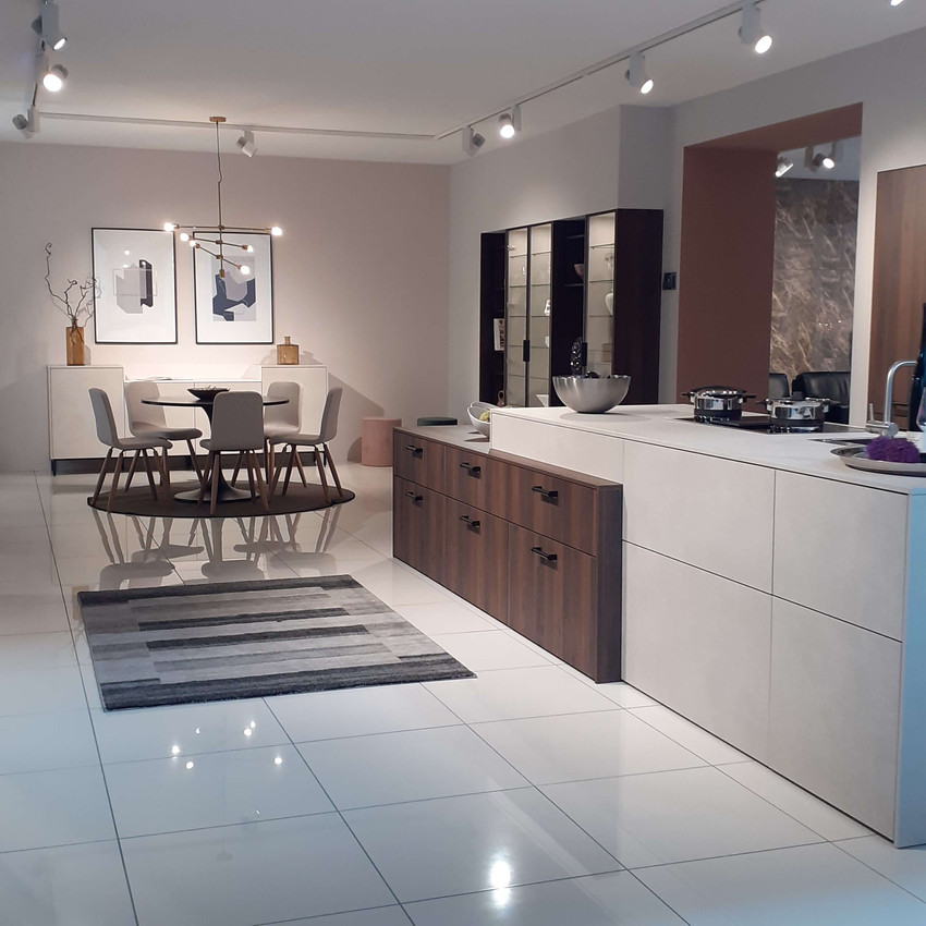 Contemporary German kitchen with sandstone and Bordeaux oak units